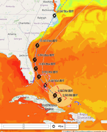 screenshot of OOMG's interactive hurricane information site
